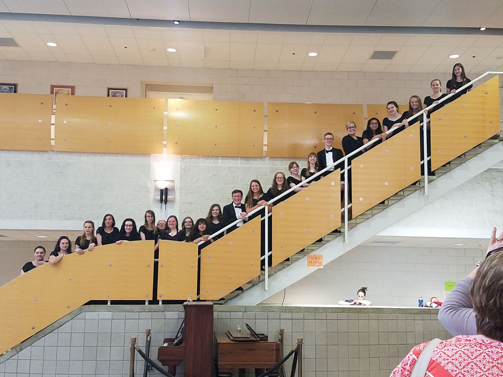 Choir group photo on staircase