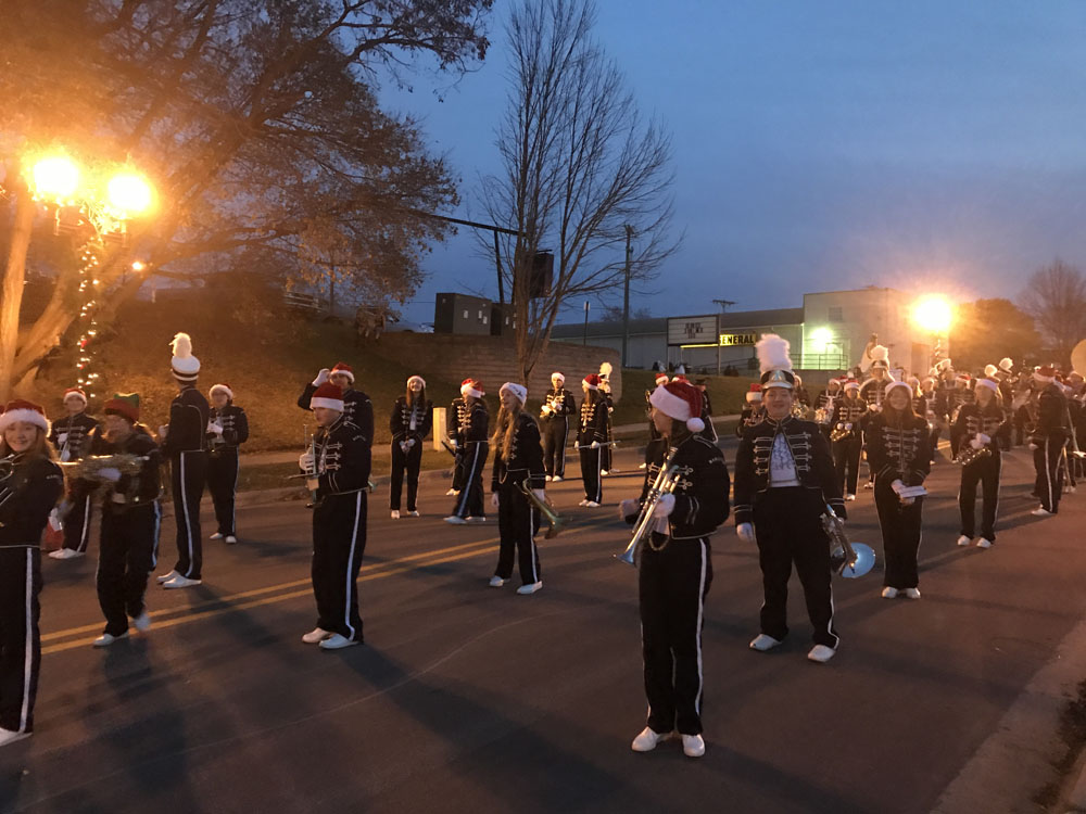 Band students marching in parade