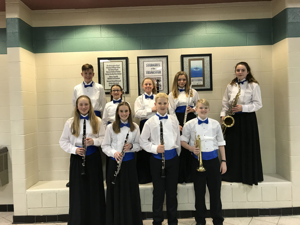 Band students in formal dress