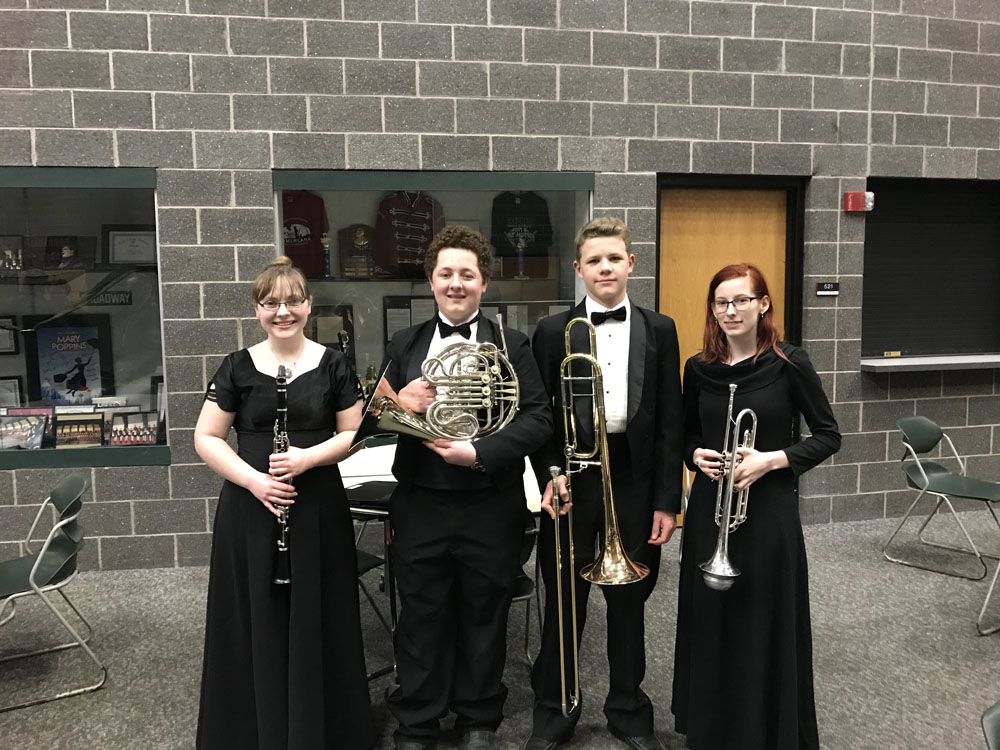 Band students dressed for performance