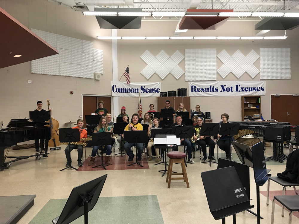 band students performing in classroom