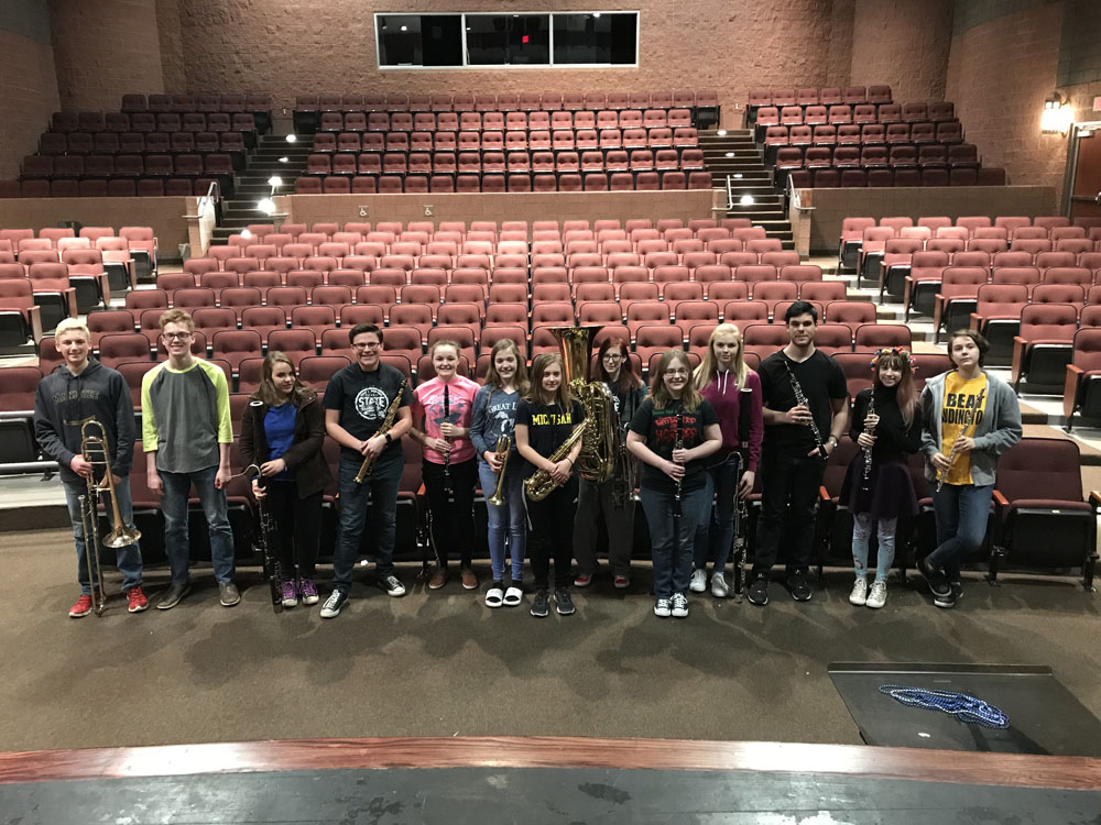 Band students in auditorium