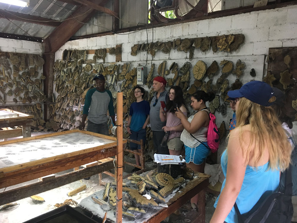 Students learning in marine biology classroom