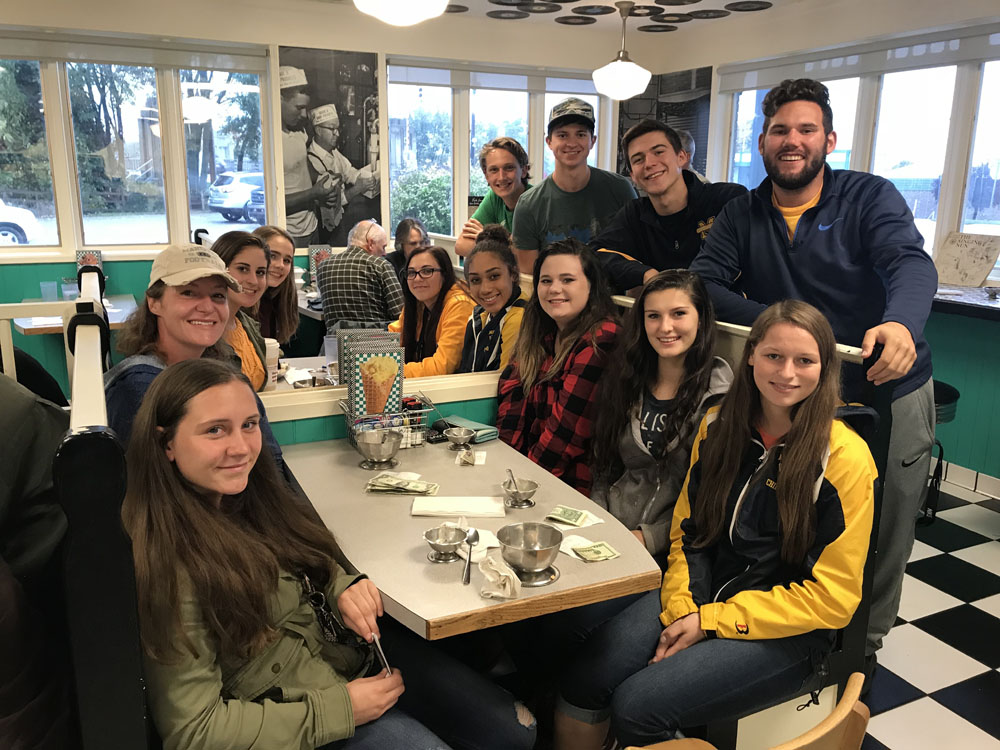 NHS Students dining together