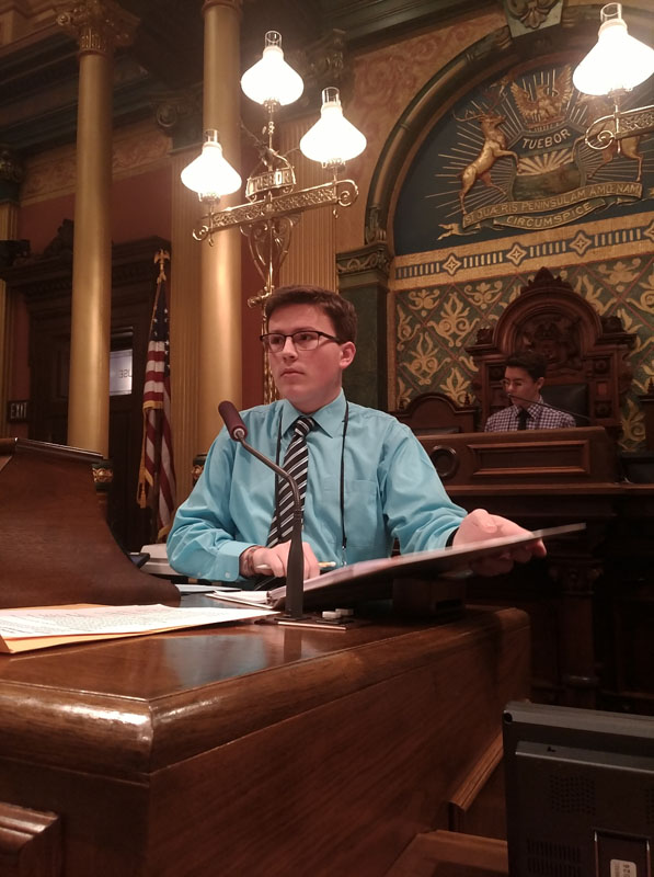 Student participating in YIG conference at state capitol