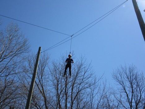 Student on high wire