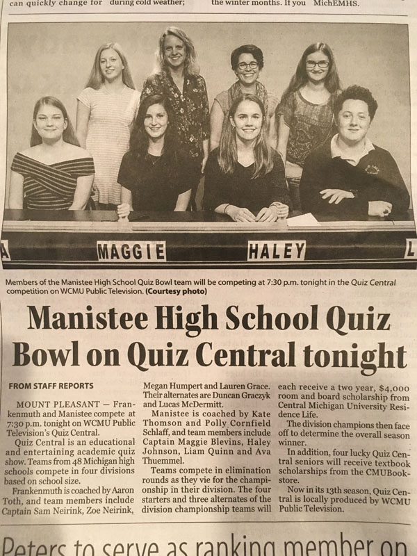 Quiz Bowl article in newspaper