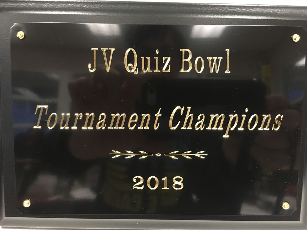 JV Quiz Bowl Tournament Champion trophy