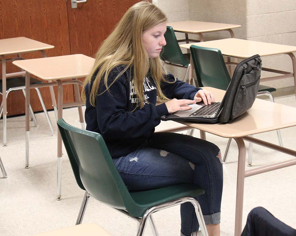 Manistee Student sitting at computer