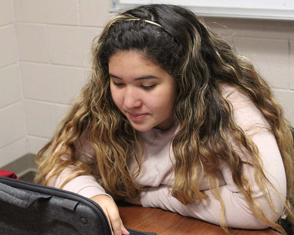 Manistee Student sitting at computer at desk close up