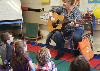 Mystery reader playing guitar