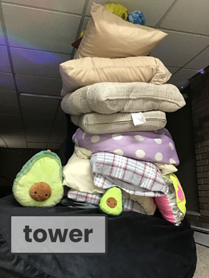 Tower of pillows