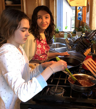Sisters cooking together
