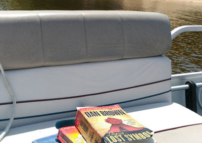 Stack of books on a boat