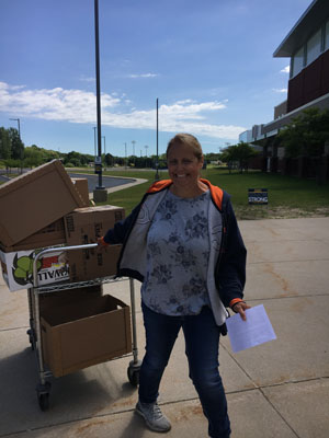 Keri Carlson working on food delivery
