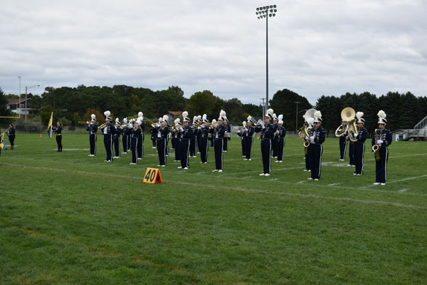 marching band assembled on field